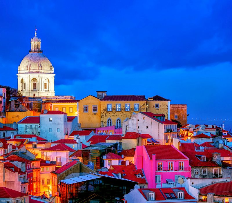 Blue Hour, Lisbon Skyline, National Pantheon, Vasco da Gama Bridge, Lisbon, Portugal
